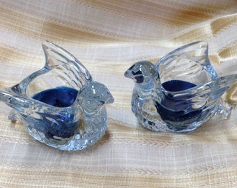 Avon Clear Glass Bird Candle Holder, Bird in Flight, Dove in Flight, Pair of Glass Bird Votive Holders