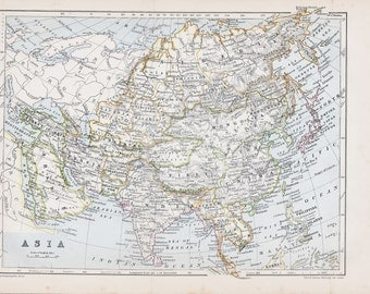 1881 Asia vintage map original political map cartography old antique map 13 x 10 inches