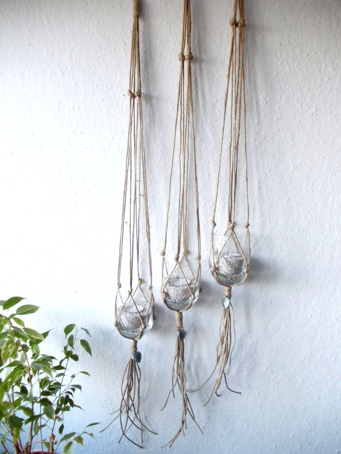 Set Of Three Macrame Plant Hangers Indoor Plant
