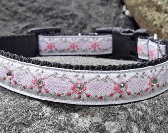 Floral Rhinestone Dog Collar, Flower Dog Collar, Small, medium collar, Princess Dog Collar, Pink Dog Collar, dog collar for girl, female dog