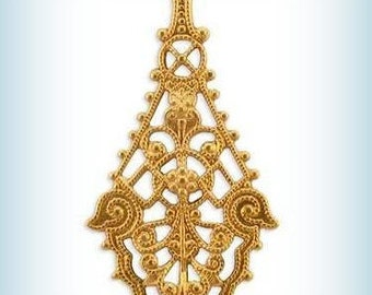 Raw Brass Stampings Earring Filigree Diamond Long Drop Components Elegant (2 pcs ) AMERICAN Made