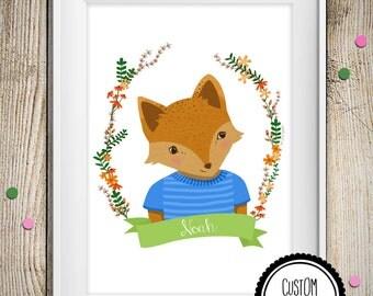 Name Art Print- Fox Nursery wall art with custom baby name – Baby shower gift - hand lettering name- woodland fox nursery decor with flowers