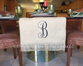 """Custom Embroidered Monogrammed lined Burlap Table runner 16"""" x 88"""" - You choose font and Thread color - Weddings, Parties, Rustic"""