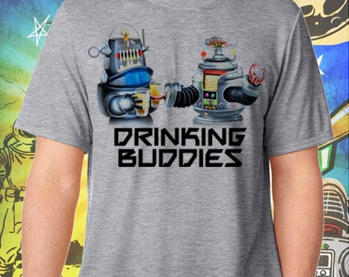 B9 and Robbie Robot Drinking Buddies Men's Gray T-Shirt