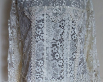 Ivory Lace Blouse Top Victorian Vintage Look Andree Gaye The Shirt off My Back sz 18