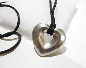 Vintage Sterling Silver Puffy Heart Necklace