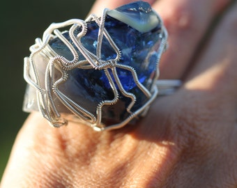 Double Finger Super Rare Blue Shaman Swirl Andara Crystal Ring in Sterling Silver Wire - X-Large Andara Magical Two Finger Andara Ring!! -