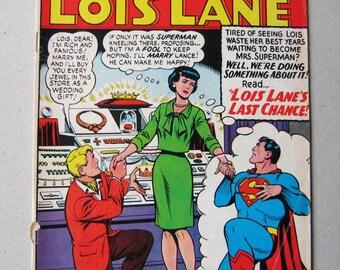 Old Comic Book, Lois Lane #69, Superman's Girlfriend, DC Comic, National Comics, Vintage Comic, Comic Book, Collectible, 1960s, Last Chance