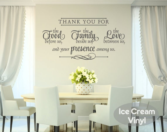 Dining Kitchen Wall Decal -Thank You For the Food Family Love- Quote Cooking Blessing VInyl Home Decor