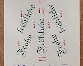 Postkarte »Fröhliche Weihnachten«, Buchdruck, Bleisatz auf Karton Munken pure