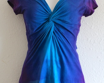 Turquoise, Blue and Purple Ombre Dyed, Twisted Front Tee, with capped or 3/4 length sleeves