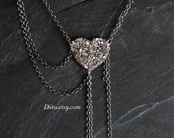 Sterling Silver Spikey Heart Necklace, 18.5 inch Chain, Multi Chain Necklace, Textured Necklace, Geometric Jewelry, Ready To Ship!