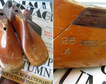 Darling little vintage childrens wooden shoe lasts~By Fagus, Germany~Sweetest display~Evocative signs of age and use