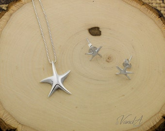 Sterling Silver 925 Starfish Necklace and earrings set of Starfish Earrings with necklace (N-74)