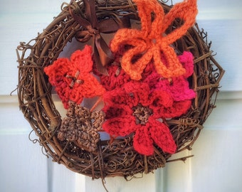 "Natural Grapevine Wreath with Crochet Flowers 8"" Unique Handmade Home Accents Winter Wreath Christmas Door Wreath"
