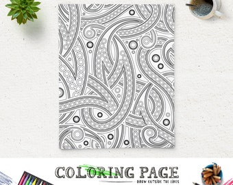 SALE Coloring Page Paisley Adult Pages Printable Book AntiStress Art Therapy Instant Download