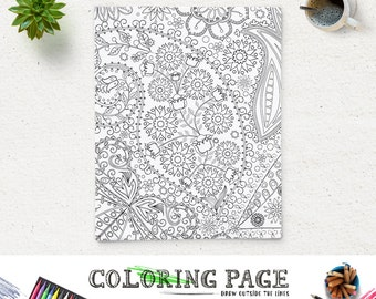 Printable Adult Coloring Page Paisley Floral Book AntiStress Art Therapy Instant Download Zen