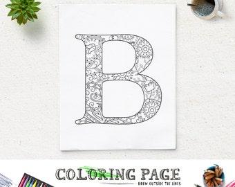 SALE Instant Download Printable Coloring Page Floral Alphabet Letter B Digital Art Zen