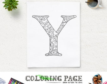 Coloring Page Printable Floral Alphabet With Texture Instant Download Digital Art Pages Adult AntiStress