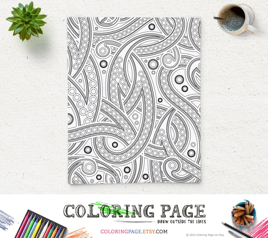 SALE Coloring Page Paisley Adult Pages Printable
