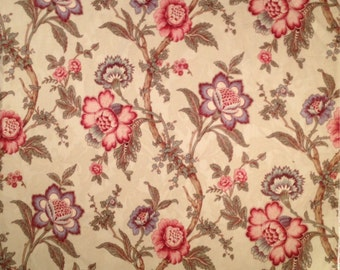 Classic Waverly Home Decor Floral on Cream Fabric-By-The-Yard