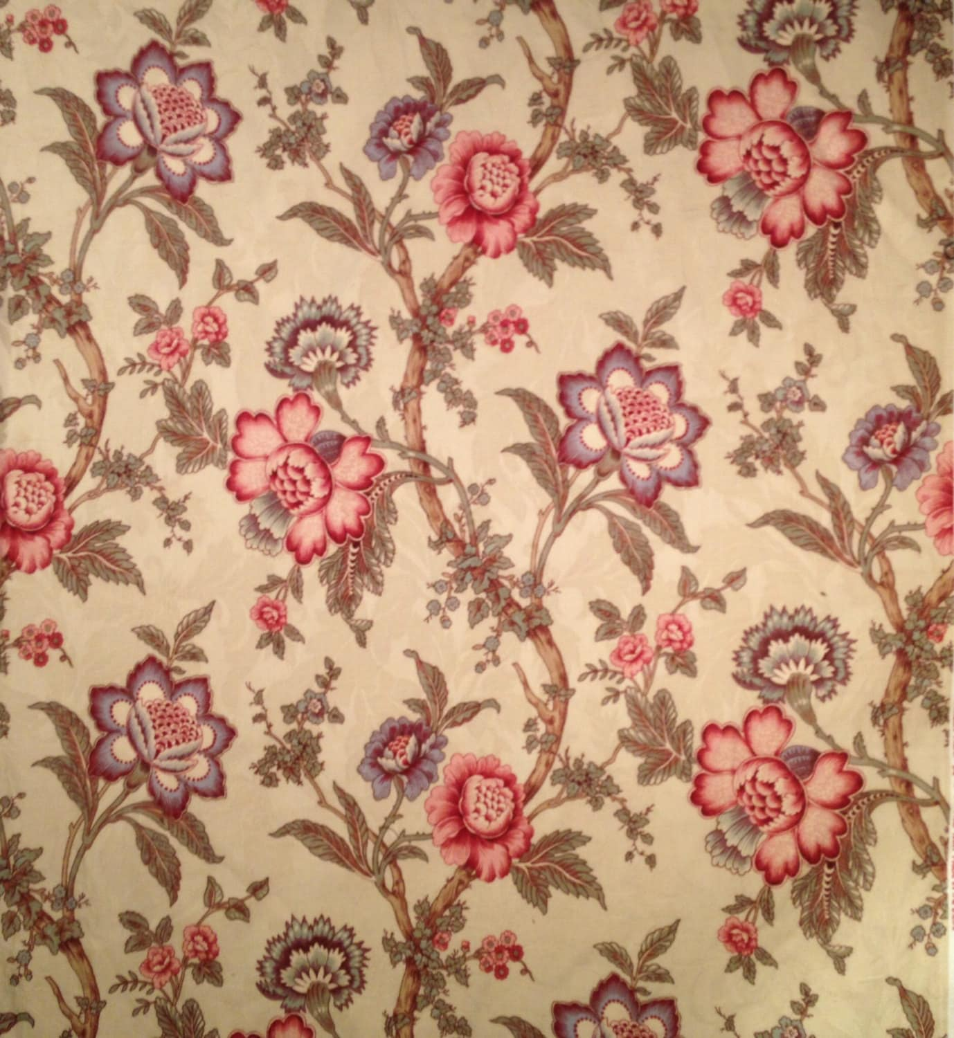 Waverly Home Decor: Classic Waverly Home Decor Floral On Cream Fabric-By-The-Yard