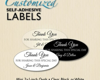 Custom 2x1 THANK YOU Wedding Favor Label, Mini Oval Sticker, Anniversary Party, Envelope Seal, Candy Buffet Bag, Glass Bottle, Personalized