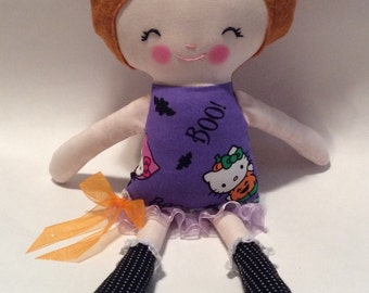 "Handmade Girl Coth Doll Halloween 14.5"" Casey Plush Softie Rag Doll Auburn Brown Wool Felt Hair"
