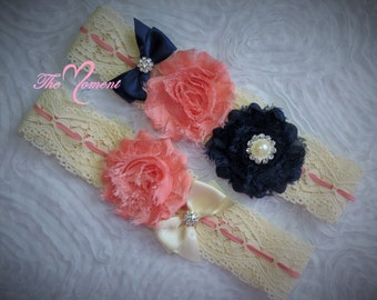 Navy Blue and Coral Lace Garter Set, Wedding Garter, Bridal Garter, Navy Blue Garter, Vintage Garter, Lace Garter, Stretch Lace