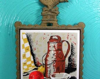 Vintage Cast Iron and Tile Kitchen Scene Trivet,  Wall Hanging Trivet, Gold Tone Trivet, Cast Iron Trivet