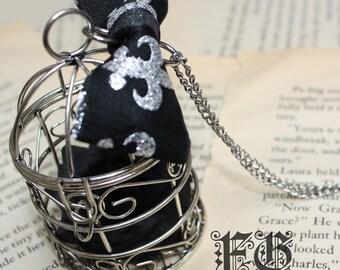 Birdcage Bow Lolita Necklace - Silver