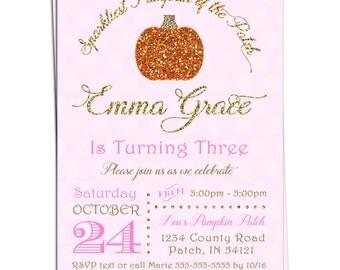 Sparkliest Pumpkin Invitation - Sparkle Pumpkin Birthday Invitation - Printable Pumpkin Invitation - You Print - Faux Glitter