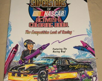 1ST EDITION 1994 SUPERSTARS of NASCAR Coloring and Activity Book Featuring Jeff Gordon 44 Pages Designed and Illustrated by Eddie Rosebloom