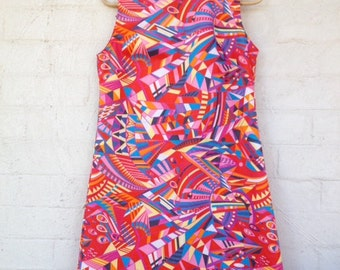 ON SALE LAST one,Vlisco African print dress, cotton sleeveless shift, A-line,Dutch wax,semi fitted summer dress,M,comfortable fit,Java print