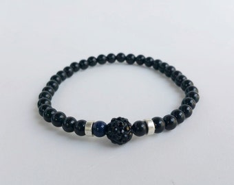 mens bracelets - mens jewelry - mens bracelete - Gemstone Bracelet - Stretch Bracelet - Beaded Bracelets - Mens Black Bracelet - christmas