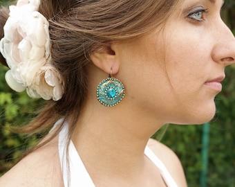 blue big round drop earrings victorian earrings blue boho earrings ethnic earrings sky blue earrings handmade earrings gift for her