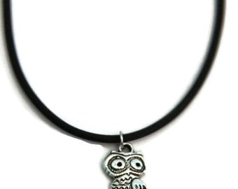 Silver Owl Necklace, Sterling Silver Chain, Owl Jewelry, Bird Jewelry