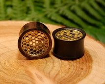 Honeycomb wood plugs gauges, bee ear tunnels, brass double flare tribal gold sono wood natural vegan plugs 1/2 9/16 5/8 11/16 3/4 7/8 inch
