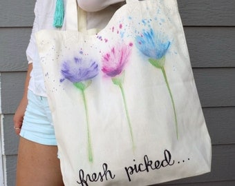 "Flower Watercolor Hand Painted Tote Bag-- Painted Tote Bag-- ""Fresh Picked"""