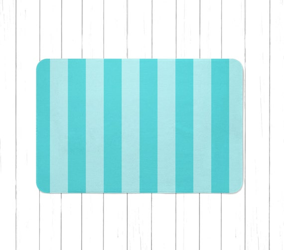 Aqua Striped Area Rug Or Bath Mat Children S Striped Rug