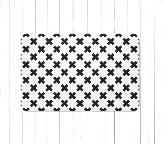 minimal black and white multiply sign rug or bath mat