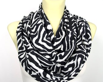 Zebra Infinity Scarf - Black and White Fashion Scarf - Animal Print Infinity Scarf - Women Fashion Accessories - Gift Idea for her - Spring