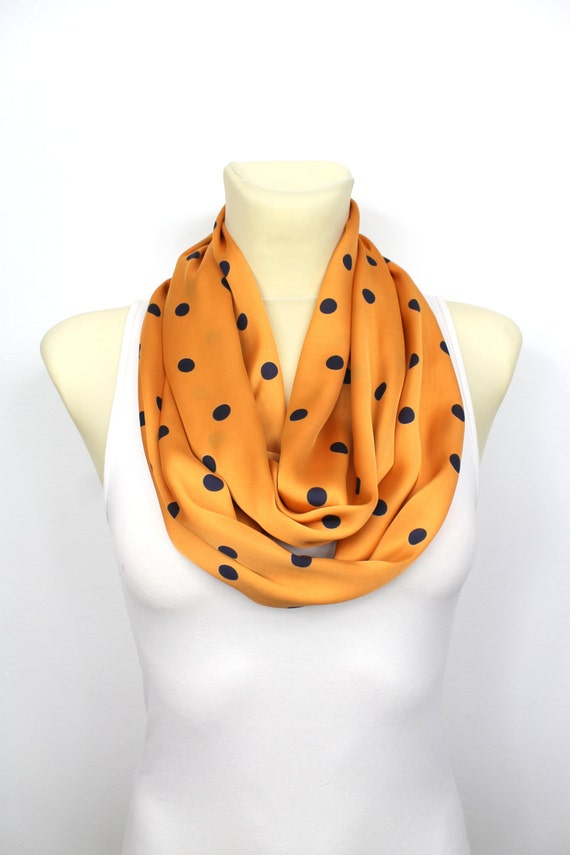 Polka Dot Scarves - Womens Circle Scarf - Polka Dot Infinity - Satin Circle Scarf - Printed Scarves - Fashion Circle Scarf - Gift for Women