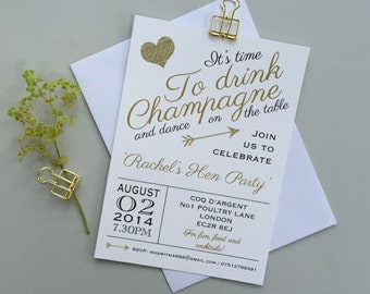 Hen party invites - Personalized Bridal Shower invitations - Personalised Hen party invitations - Gold hen party invites - Drink champagne