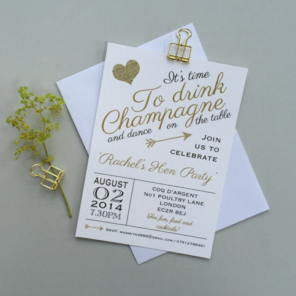 Hen party invites Personalized Bridal Shower invitations
