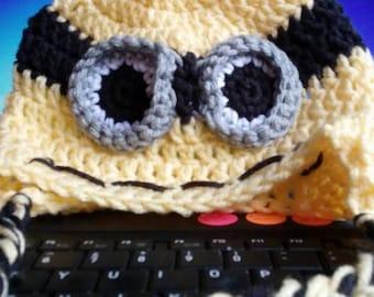 Crocheted Minion Inspired Ear Flap Hat