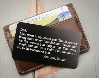 Custom Wallet Insert, Personalized Wallet Card, Metal Wallet Insert: Valentine's Day, Anniversary Gift for Men, Wedding Gift from Bride