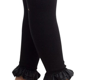 Footless tights, kids leggings.  pink, black, or denim. soft cotton, baby girls Size 0-12m and 12-24m.