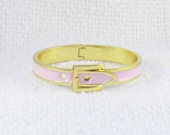 Vintage Pink Enamel Belt Bracelet Pink Enamel Hinged Belt Bracelet Pink Belt Bracelet