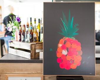 SALE: Custom framed Pineapple Pop print on foam pvc board, A2 (594 x 420mm).